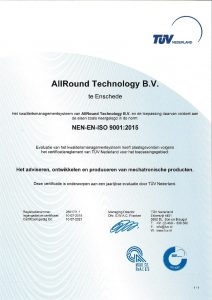 Certificate AllRound Technology (Dutch Language)
